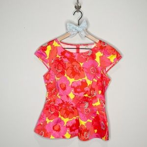 LOFT Pink Yellow Floral Peplum Cap Sleeve Blouse